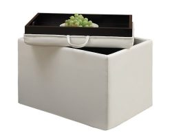 Convenience Concepts Designs4Comfort Modern Accent Storage Ottoman, White