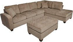 Homelegance 2 Piece Sectional Sofa Polyester With Reversible Chaise, Two Toss Pillows, and Ottom ...