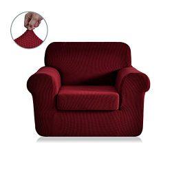CHUN YI 2-Piece Jacquard Polyester Spandex Sofa Slipcover (Chair, Wine)