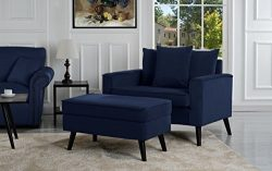 Mid-Century Modern Living Room Large Accent Chair with Footrest/Storage Ottoman (Navy)