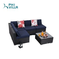 PHI VILLA 5-Piece Rattan Sectional Sofa Patio Furniture Set with Seat Cushions, Blue