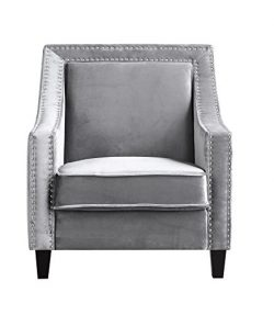 Iconic Home Camren Accent Club Chair Velvet Upholstered Swoop Arm Silver Nailhead Trim Espresso  ...