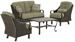 Hanover VENTURA4PC Ventura 4-Piece Indoor/Outdoor Lounging Set, Includes Wicker Loveseat, 2 Loun ...