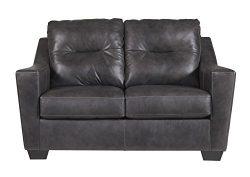 Ashley Furniture Signature Design – Kensbridge Contemporary Leather Loveseat – Charc ...