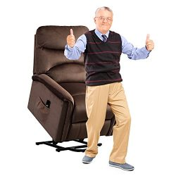 BONZY HOME Power Recliner Chair 3 postion Lift Chair with Gentle Motor Broad Backrest-Espresso