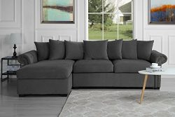 Modern Large Tufted Velvet Sectional Sofa, Scroll Arm L-Shape Couch (Dark Grey)