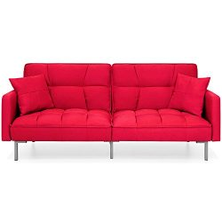 Best Choice Products Convertible Futon Linen Tufted Split Back Couch w/Pillows – Dark Red