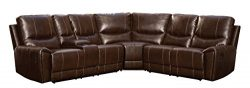 Homelegance 3 Piece Bonded Leather Sectional Reclining Sofa with Cup Holder Console, Brown