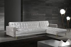 Iconic Home Amandal Right Facing Convertible Sectional Sofa Sleeper Bed L Shape Chaise Tufted Ve ...