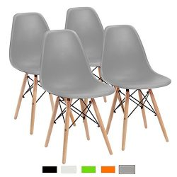 Furmax Pre Assembled Modern Style Dining Chair Pre Assembled Mid Century Modern DSW Chair, Shell ...