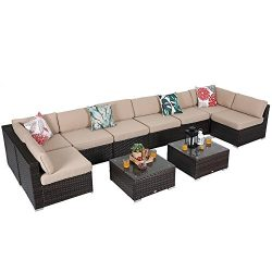 PHI VILLA 10-Piece Outdoor Rattan Sectional Sofa- Patio Wicker Furniture Set, Beige