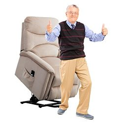 BONZY HOME Power Recliner Chair 3 postion Lift Chair with Gentle Motor Broad Backrest-Buff