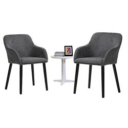 Simhoo Accent Chair with grey velvet fabric for dining room,living room,bedroom,home office (set ...