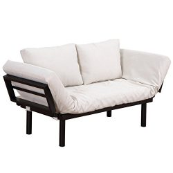 HomC Convertible Couch Chaise Lounger Sofa Bed Single Person 3-Position Lounge Sleep – Bla ...