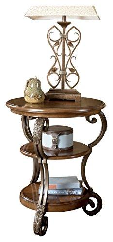 Ashley Furniture Signature Design – Nestor Chair Side End Table – Medium Brown