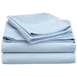Egyptian Cotton Full Sleeper Sofa Bed Sheet Set 54″x72″x6″ Light Blue Solid
