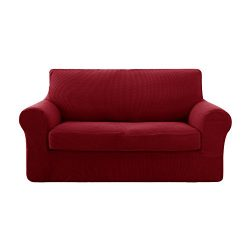 Deconovo Jacquard Stretch Solid Color Small Checked 2 Pieces Loveseat Cover Spandex Polyester So ...