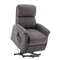 Bonzy Home Lift Recliner Classic Power Lift Chair Soft and Warm Fabric with Remote Control for G ...