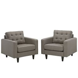 Modway Engage Mid-Century Modern Upholstered Fabric Sofa and Two Armchair Set In Oatmeal