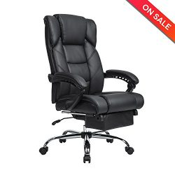LCH Reclining Leather Office Chair – High Back Executive Chair with Adjustable Angle Recli ...