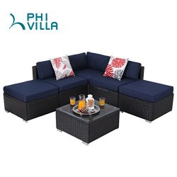 PHI VILLA 6-Piece Outdoor Rattan Sectional Sofa- Patio Wicker Furniture Set, Blue