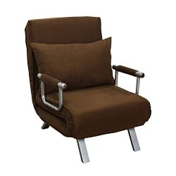 HomCom 26″ Convertible Single Sleeper Chair Bed – Brown