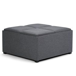 Simpli Home Avalon Coffee Table Storage Ottoman with 4 Serving Trays, Slate Grey