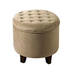 HomePop K6171-B117 Ottoman Kinfine Round Tufted Storage Velvet, 19″ x 18″, Tan
