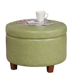 HomePop Large Leatherette Round Storage Ottoman with Removeable Lid, Moss Green