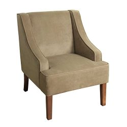 HomePop K6499-B117 Swoop Arm Accent Chair, Medium, Tan