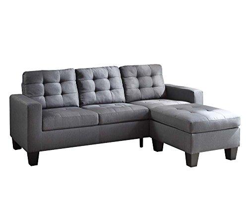 ACME Earsom Gray Linen Sectional Sofa with Reversible Ottoman