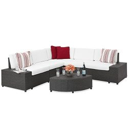 Best Choice Products 6-Piece Wicker Sectional Sofa Patio Furniture Set w/5 Seats, Corner Coffee  ...