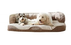 iComfort Sleeper Sofa Pet Bed with Dual Action Cool Effects Gel Memory Foam, X-Large, Tan