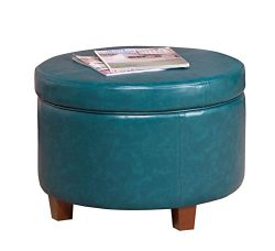 HomePop Large Leatherette Round Storage Ottoman with Removeable Lid, Teal