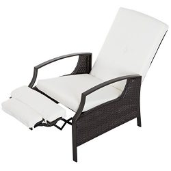 Outsunny Indoor/Outdoor Garden Wicker Adjustable Recliner Chair, Relaxing Lounge Chair with Cush ...