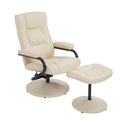 HOMCOM PVC Leather Recliner and Ottoman Set – Cream