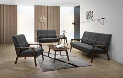 AS Quality 3 pcs 3 Black Fabric Couch Love Seat Single Arm Chair, All 3 Included