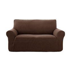 Deconovo Jacquard Stretch Solid Color Small Checked Sofa Cover Spandex Polyester Sofa Slipcover  ...