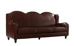 Leather Sofa 3 Seater, Living Room Couch, Loveseat for 3 with Nailhead Trim (Dark Brown)