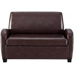 Alex's New Sofa Sleeper Black convertible couch loveseat chair leather bed mattress (Brown)