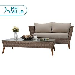PHI VILLA Patio Gradual Changing Color PE Rattan Loveseat Wicker Bench Sofa and Coffee Table Set ...