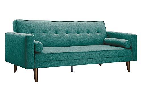 Novogratz Vintage Mix Sofa Futon, Premium Linen Upholstery with Natural Wooden Legs in Gold Fini ...