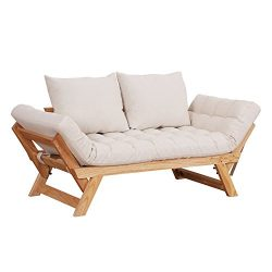 HOMCOM Single Person 3 Position Convertible Couch Chaise Lounger Sofa Bed – Natural Wood/C ...