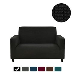 RUBEDER Stretch Loveseat Cover Sofa Couch Slipcover 1-Piece Jacquard Polyester Spandex Fabric El ...