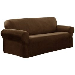 Maytex Piped Suede 1-Piece Loveseat Furniture Cover / Slipcover, Brown