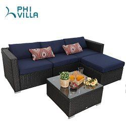 PHI VILLA 5-Piece Outdoor Rattan Sectional Sofa- Patio Wicker Furniture Set, Blue