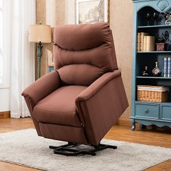 BONZY Lift Recliner Chair Power Lift Chair with Gentle Motor Durable Ribstop – Tan