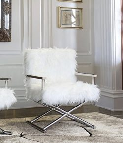 Armen Living LCCGCHWH Calgary Accent Chair, White