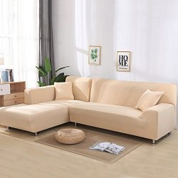 Universal Sofa Covers for L Shape, 2pcs Polyester Fabric Stretch Slipcovers + 2pcs Pillow Covers ...