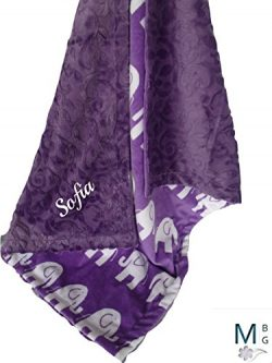 MinkyBabyGifts Personalized Minky Baby Blanket in Purple Elephant Print